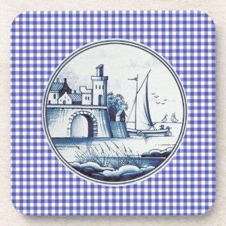 Teja azul tradicional holandesa posavaso