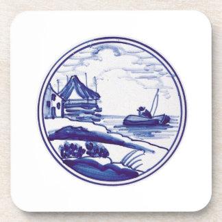 Teja azul tradicional holandesa posavasos de bebidas