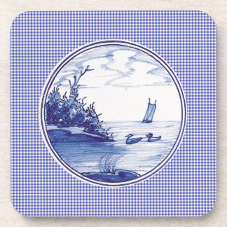 Teja azul tradicional holandesa posavasos