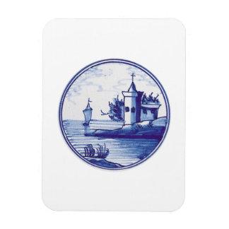 Teja azul tradicional holandesa rectangle magnet