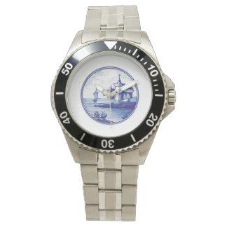 Teja azul tradicional holandesa reloj de mano