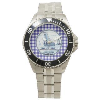 Teja azul tradicional holandesa relojes de pulsera