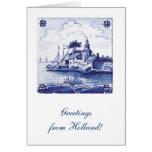 Teja azul tradicional holandesa tarjeta