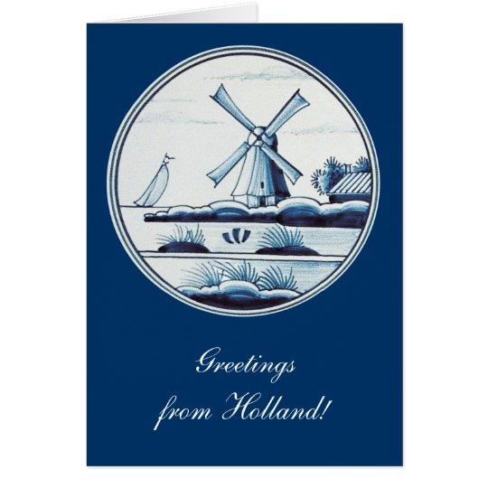 Teja azul tradicional holandesa tarjeta de felicitación