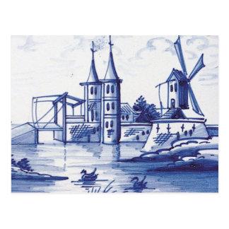 Teja azul tradicional holandesa tarjetas postales