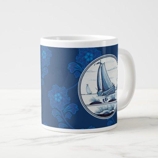 Teja azul tradicional holandesa tazas jumbo