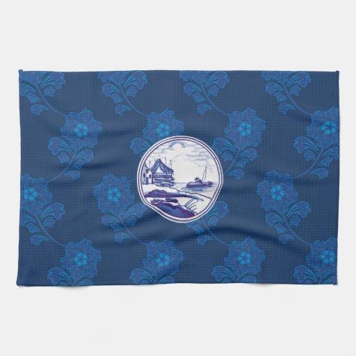 Teja azul tradicional holandesa toallas