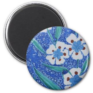 TEJA azul y blanca de la cerámica del otomano Imán Redondo 5 Cm