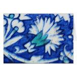 Teja azul y blanca del vintage del diseño floral d tarjetas