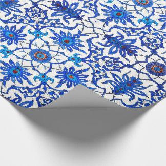 Teja china de Nouveau del arte - azul y blanco de Papel De Regalo