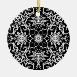 Teja china de Nouveau del arte - blanco en negro Adorno Redondo De Cerámica