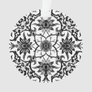 Teja china de Nouveau del arte - blanco y negro