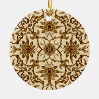 Teja china de Nouveau del arte - Brown y beige Adorno Redondo De Cerámica