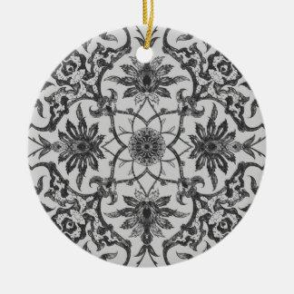 Teja china de Nouveau del arte - gris de plata Adorno Redondo De Cerámica