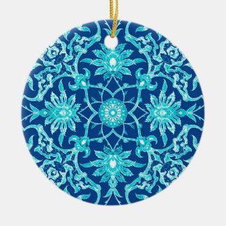 Teja china de Nouveau del arte - turquesa y azul Adorno Redondo De Cerámica