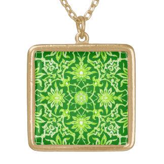 Teja china de Nouveau del arte - verde esmeralda Collar Dorado