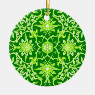 Teja china de Nouveau del arte - verde esmeralda Adorno Redondo De Cerámica