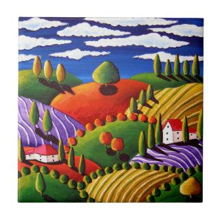 Teja colorida del arte popular del paisaje toscano