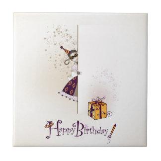 Teja con diseño del feliz cumpleaños