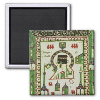 Teja con una representación de La Meca Imán Cuadrado