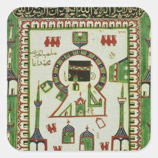 Teja con una representación de La Meca Pegatina Cuadrada