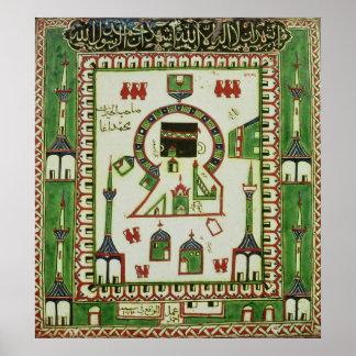 Teja con una representación de La Meca Póster