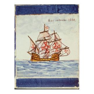 Teja de Azulejos que representa una nave, de Postales