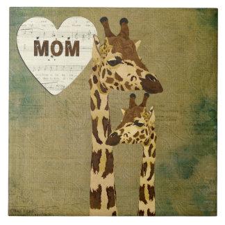 Teja de bronce de oro de la mamá de las jirafas
