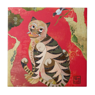 Teja de cerámica coreana de Deco del arte popular