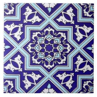 Teja de cerámica de la foto del diseño azul turco