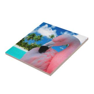 Teja de cerámica de la foto del flamenco rosado