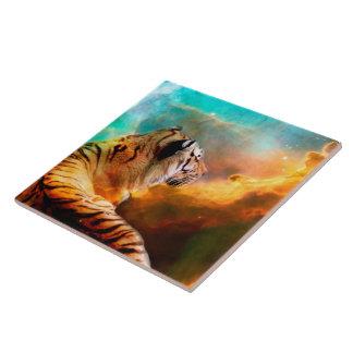 Teja de cerámica grande de la foto del tigre