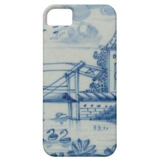 Teja de Delft que muestra un puente levadizo sobre Funda Para iPhone 5 Barely There