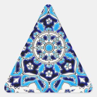 Teja de la cerámica de las flores azules y blancas pegatina triangular