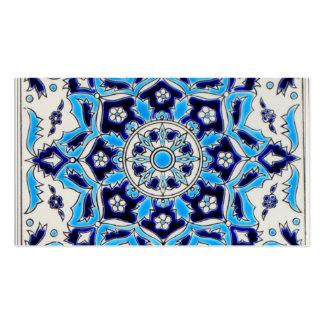 Teja de la cerámica de las flores azules y blancas tarjetas de visita
