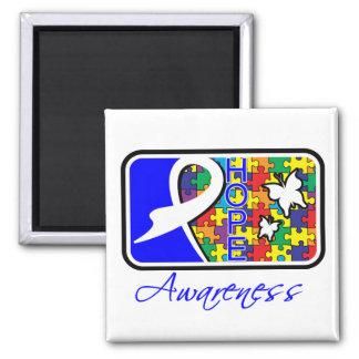 Teja de la conciencia de la esperanza del autismo imán cuadrado