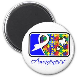 Teja de la conciencia de la esperanza del autismo imán redondo 5 cm