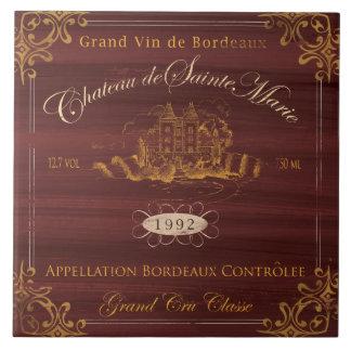 Teja de la etiqueta del vino francés: Burdeos