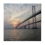 Teja de la puesta del sol del puente de la bahía d