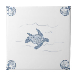 Teja de la tortuga de mar de Delft con las
