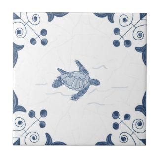 Teja de la tortuga de mar de Delft con las esquina