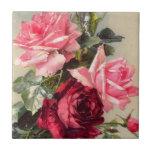 Teja de los rosas rosados y rojos del vintage