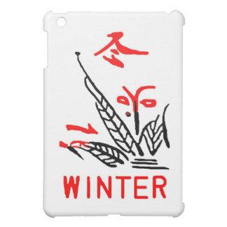 Teja de Mahjong, invierno, en el fondo blanco