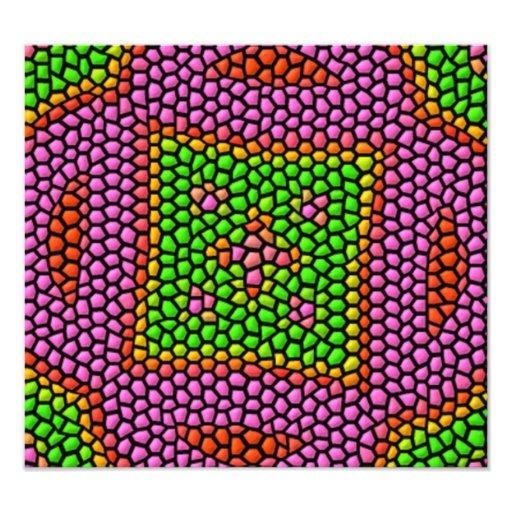 Teja de mosaico coloreada brillante cojinete