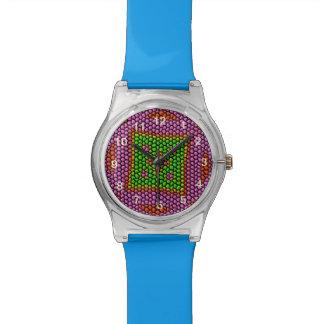 Teja de mosaico coloreada brillante reloj