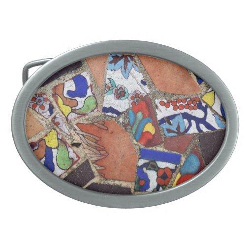 Teja de mosaico del vintage hebillas cinturón