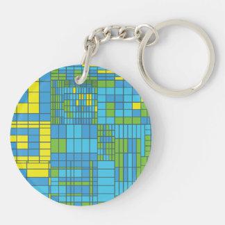 Teja de mosaico verde y amarillo llavero
