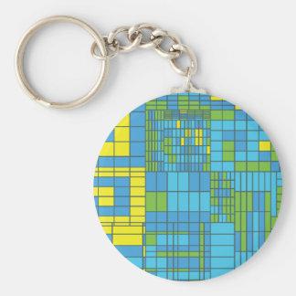 Teja de mosaico verde y amarillo llaveros