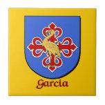 Teja decorativa del escudo de la familia de García