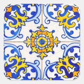 Teja del arte de Azulejo Pegatina Cuadrada